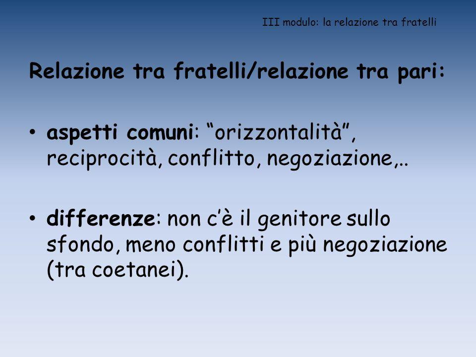 III modulo: la relazione tra fratelli Relazione tra fratelli/relazione tra pari: aspetti comuni: orizzontalità, reciprocità, conflitto, negoziazione,.
