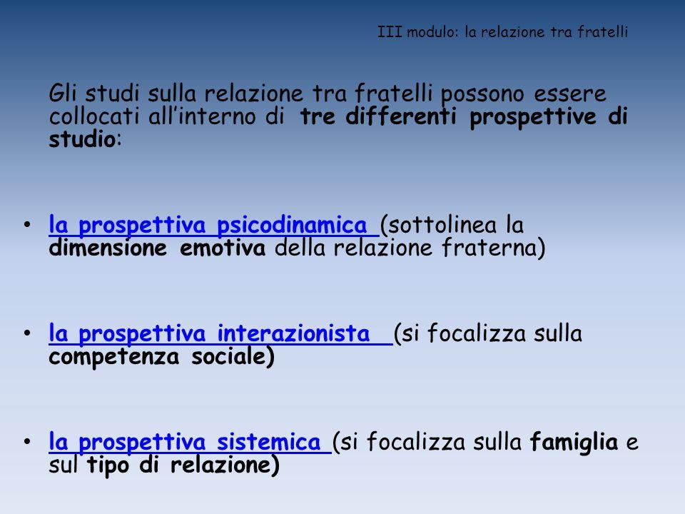 III modulo: la relazione tra fratelli Gli studi sulla relazione tra fratelli possono essere collocati allinterno di tre differenti prospettive di stud