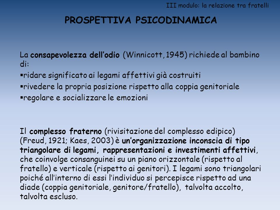 III modulo: la relazione tra fratelli PROSPETTIVA PSICODINAMICA La consapevolezza dellodio (Winnicott, 1945) richiede al bambino di: ridare significat