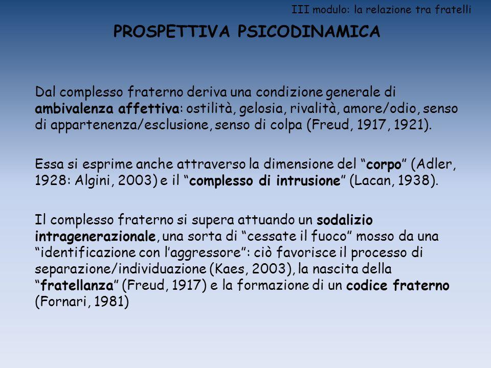 III modulo: la relazione tra fratelli PROSPETTIVA PSICODINAMICA Dal complesso fraterno deriva una condizione generale di ambivalenza affettiva: ostili