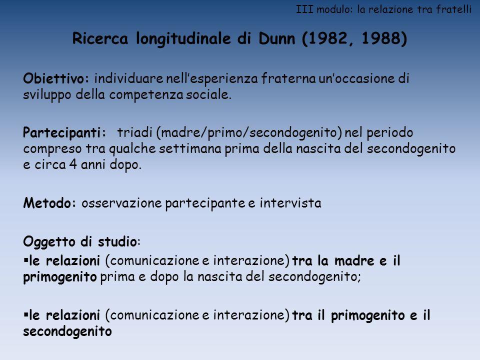 III modulo: la relazione tra fratelli Ricerca longitudinale di Dunn (1982, 1988) Obiettivo: individuare nellesperienza fraterna unoccasione di svilupp