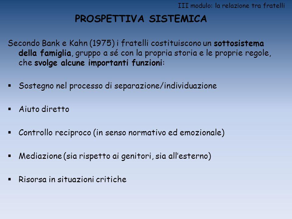 III modulo: la relazione tra fratelli PROSPETTIVA SISTEMICA Secondo Bank e Kahn (1975) i fratelli costituiscono un sottosistema della famiglia, gruppo