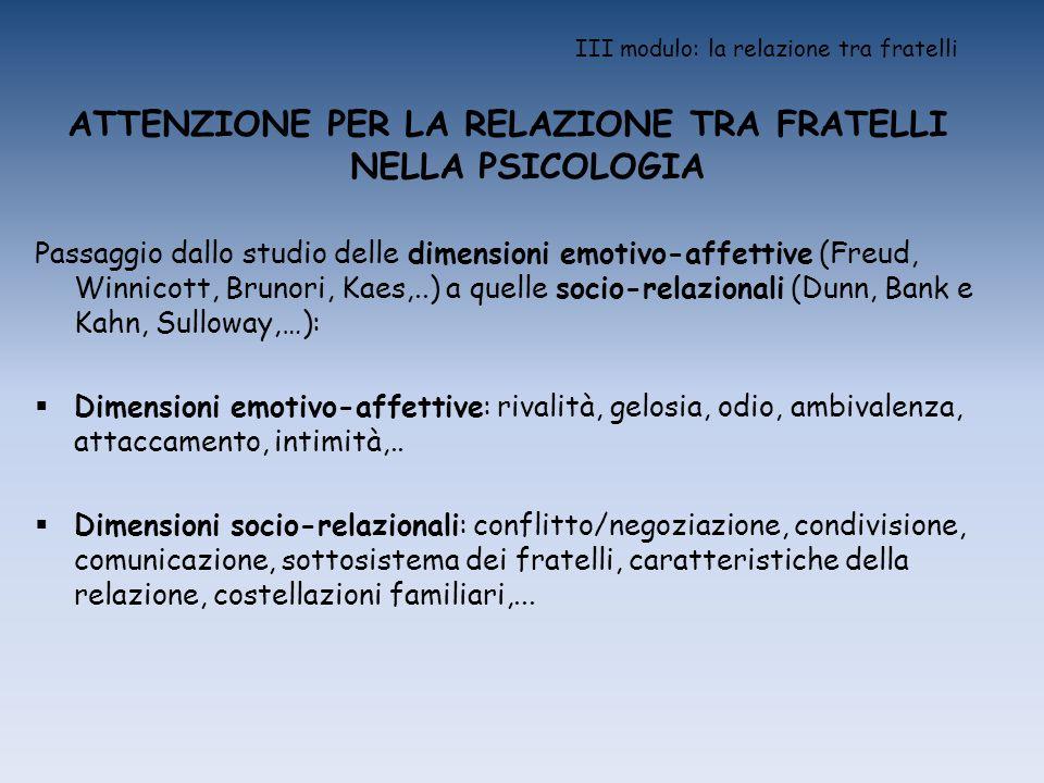 III modulo: la relazione tra fratelli ATTENZIONE PER LA RELAZIONE TRA FRATELLI NELLA PSICOLOGIA Passaggio dallo studio delle dimensioni emotivo-affett