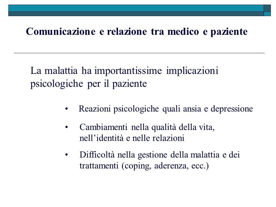 Comunicazione e relazione tra medico e paziente La malattia ha importantissime implicazioni psicologiche per il paziente Reazioni psicologiche quali a