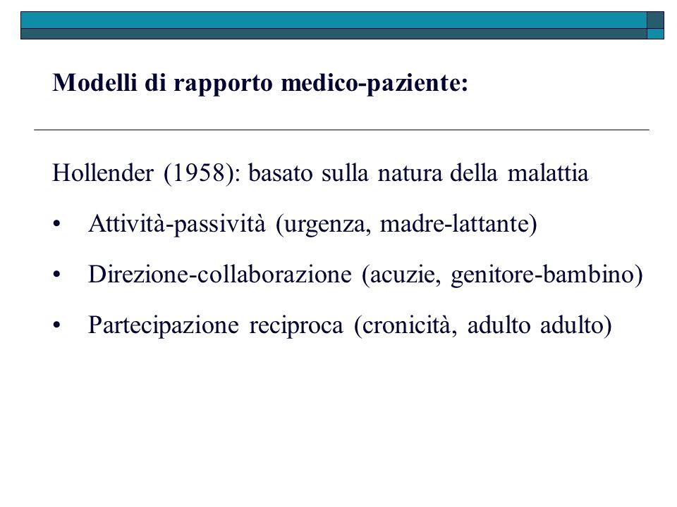 Modelli di rapporto medico-paziente: Hollender (1958): basato sulla natura della malattia Direzione-collaborazione (acuzie, genitore-bambino) Attività