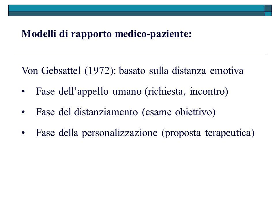 Modelli di rapporto medico-paziente: Von Gebsattel (1972): basato sulla distanza emotiva Fase del distanziamento (esame obiettivo) Fase dellappello um