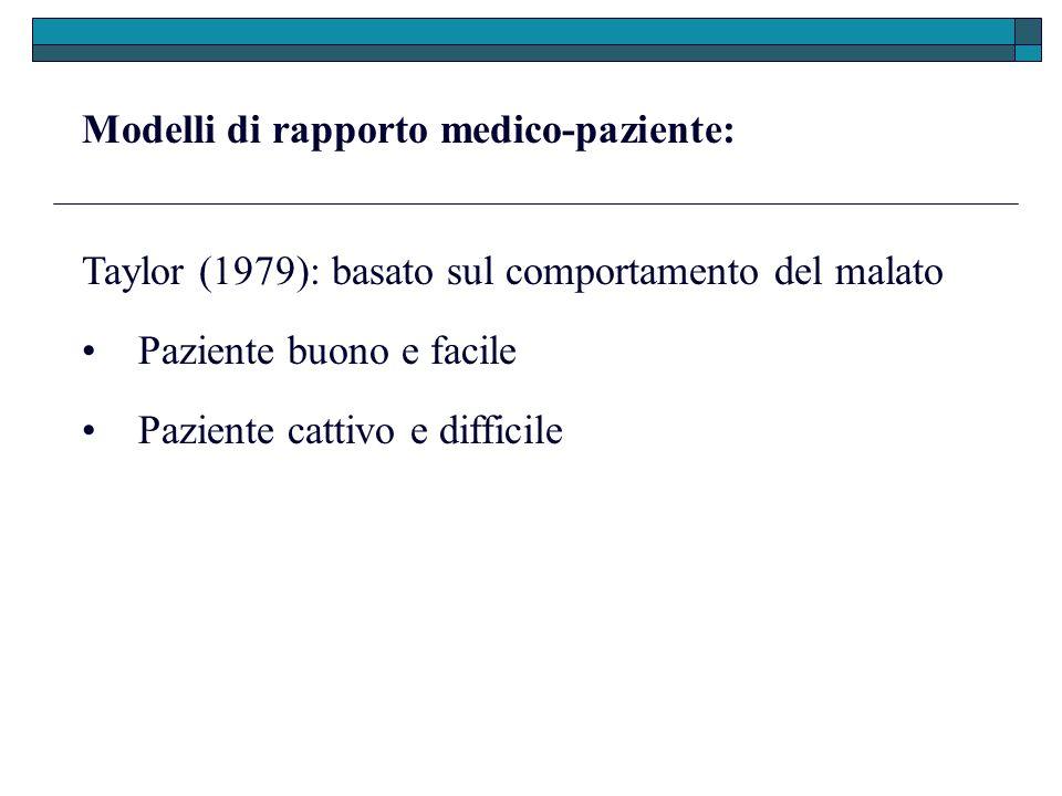 Modelli di rapporto medico-paziente: Taylor (1979): basato sul comportamento del malato Paziente cattivo e difficile Paziente buono e facile