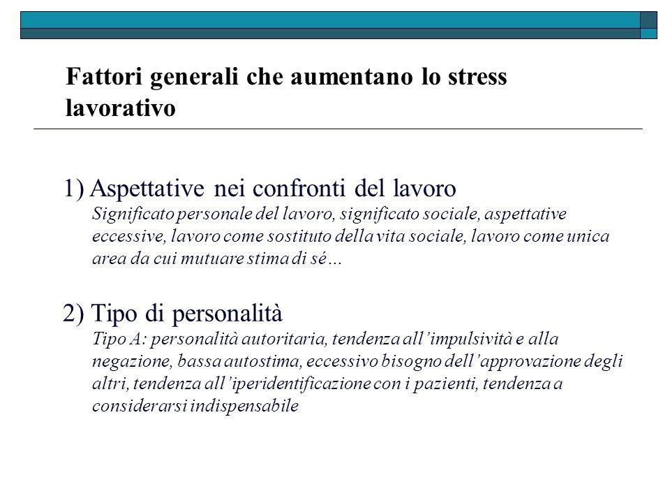 Fattori generali che aumentano lo stress lavorativo 1) Aspettative nei confronti del lavoro 2) Tipo di personalità Significato personale del lavoro, s