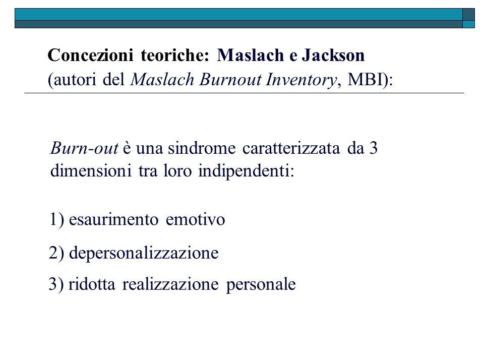 Concezioni teoriche: Maslach e Jackson 3) ridotta realizzazione personale (autori del Maslach Burnout Inventory, MBI): Burn-out è una sindrome caratte