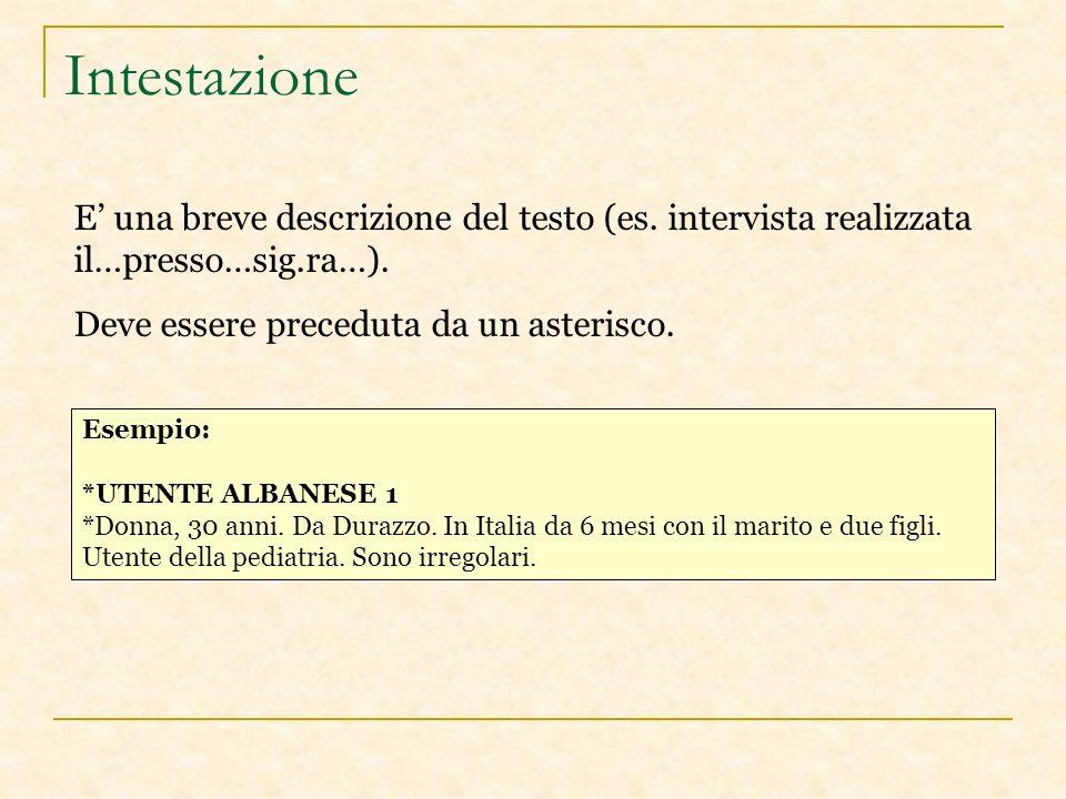 Intestazione E una breve descrizione del testo (es.