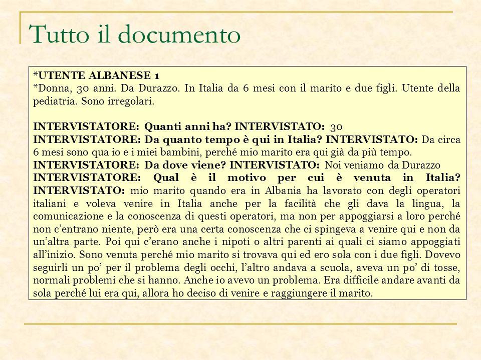 Tutto il documento *UTENTE ALBANESE 1 *Donna, 30 anni.