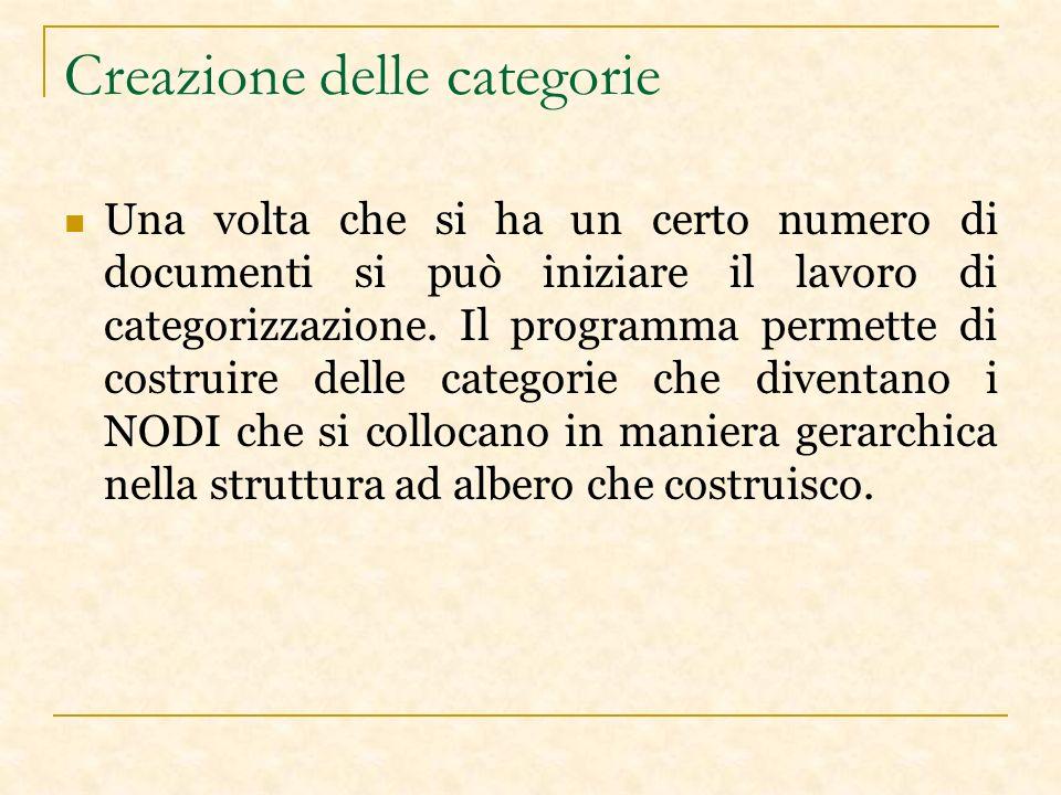 Creazione delle categorie Una volta che si ha un certo numero di documenti si può iniziare il lavoro di categorizzazione.