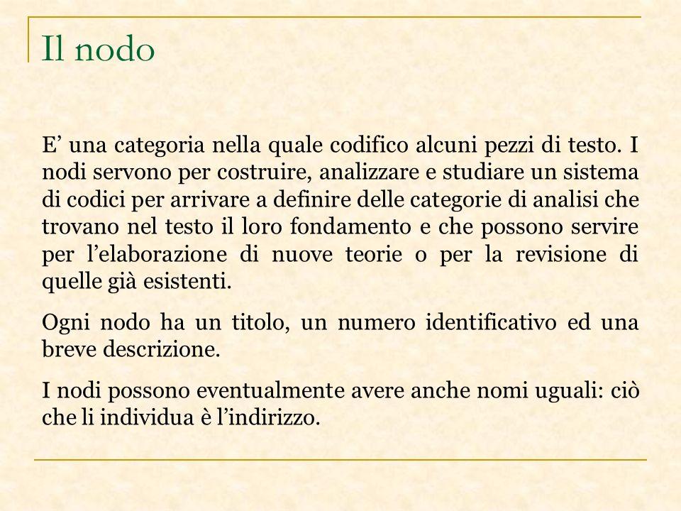 Il nodo E una categoria nella quale codifico alcuni pezzi di testo.