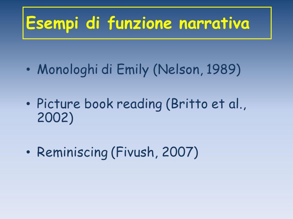 Esempi di funzione narrativa Monologhi di Emily (Nelson, 1989) Picture book reading (Britto et al., 2002) Reminiscing (Fivush, 2007)