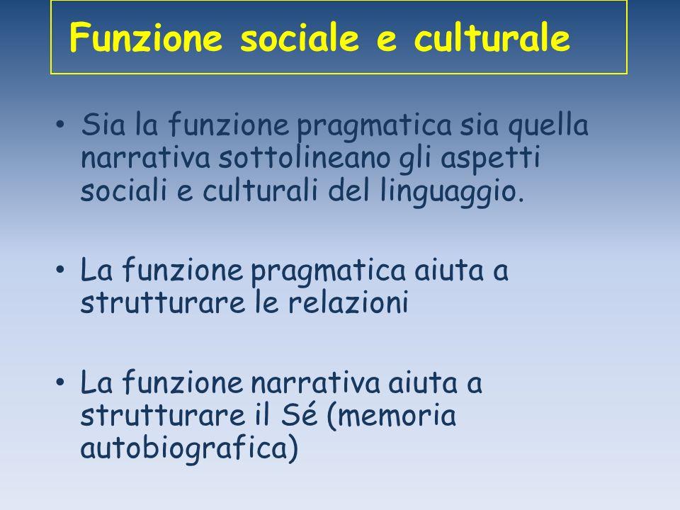 Funzione sociale e culturale Sia la funzione pragmatica sia quella narrativa sottolineano gli aspetti sociali e culturali del linguaggio. La funzione