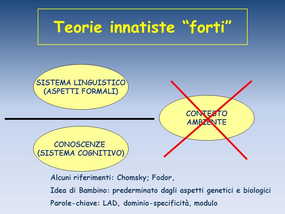 Teorie innatiste forti SISTEMA LINGUISTICO (ASPETTI FORMALI) CONTESTOAMBIENTE CONOSCENZE (SISTEMA COGNITIVO) Alcuni riferimenti: Chomsky; Fodor, Idea