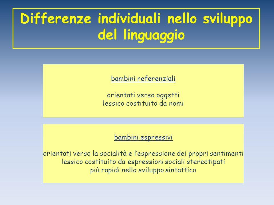 Differenze individuali nello sviluppo del linguaggio bambini referenziali orientati verso oggetti lessico costituito da nomi bambini espressivi orient