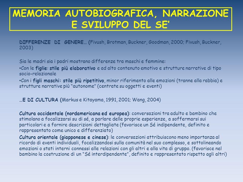 MEMORIA AUTOBIOGRAFICA, NARRAZIONE E SVILUPPO DEL SE DIFFERENZE DI GENERE… (Fivush, Brotman, Buckner, Goodman, 2000; Fivush, Buckner, 2003) Sia le mad