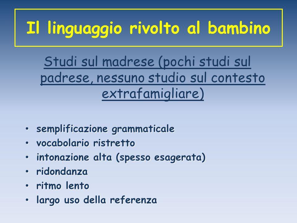 Il linguaggio rivolto al bambino Studi sul madrese (pochi studi sul padrese, nessuno studio sul contesto extrafamigliare) semplificazione grammaticale