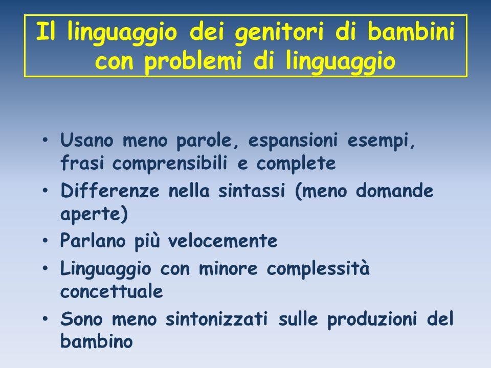 Il linguaggio dei genitori di bambini con problemi di linguaggio Usano meno parole, espansioni esempi, frasi comprensibili e complete Differenze nella