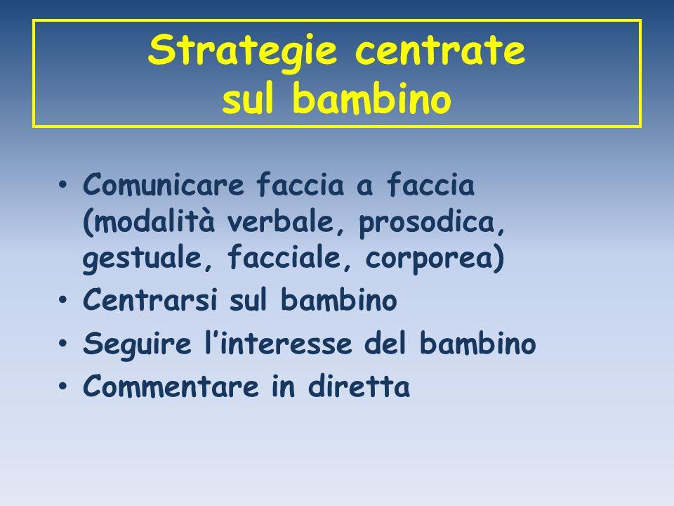 Strategie centrate sul bambino Comunicare faccia a faccia (modalità verbale, prosodica, gestuale, facciale, corporea) Centrarsi sul bambino Seguire li