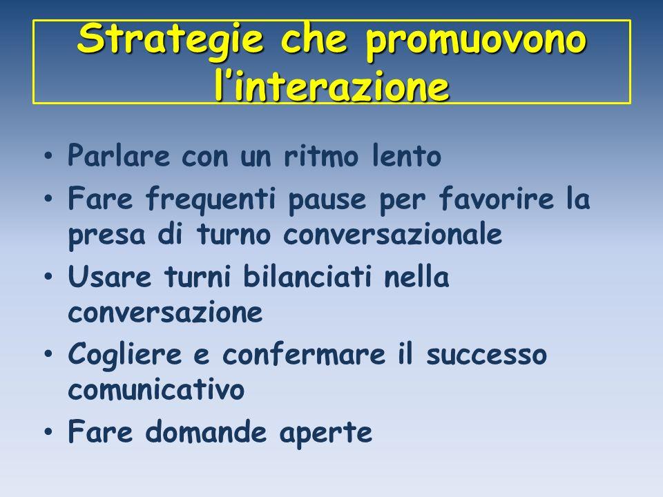 Strategie che promuovono linterazione Parlare con un ritmo lento Fare frequenti pause per favorire la presa di turno conversazionale Usare turni bilan