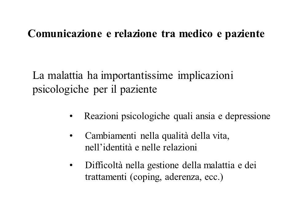 La comunicazione in medicina: ambiti di ricerca 1.Rapporto tra comunicazione e soddisfazione dei pazienti 2.