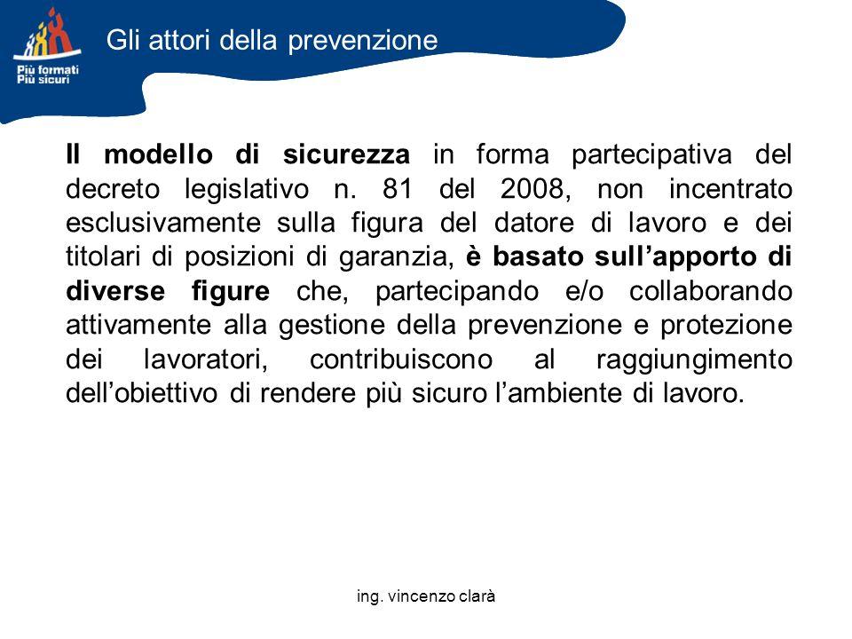 ing. vincenzo clarà Il modello di sicurezza in forma partecipativa del decreto legislativo n. 81 del 2008, non incentrato esclusivamente sulla figura