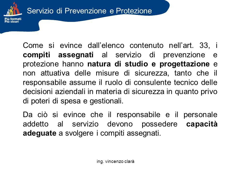 ing. vincenzo clarà Come si evince dallelenco contenuto nellart. 33, i compiti assegnati al servizio di prevenzione e protezione hanno natura di studi