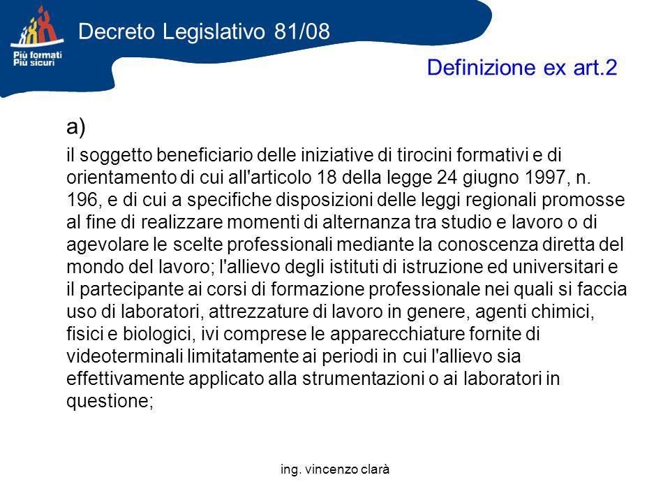 ing. vincenzo clarà Definizione ex art.2 a) il soggetto beneficiario delle iniziative di tirocini formativi e di orientamento di cui all'articolo 18 d