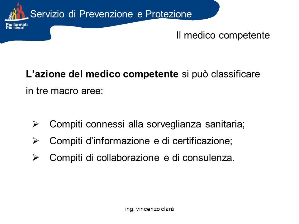 ing. vincenzo clarà Lazione del medico competente si può classificare in tre macro aree: Compiti connessi alla sorveglianza sanitaria; Compiti dinform