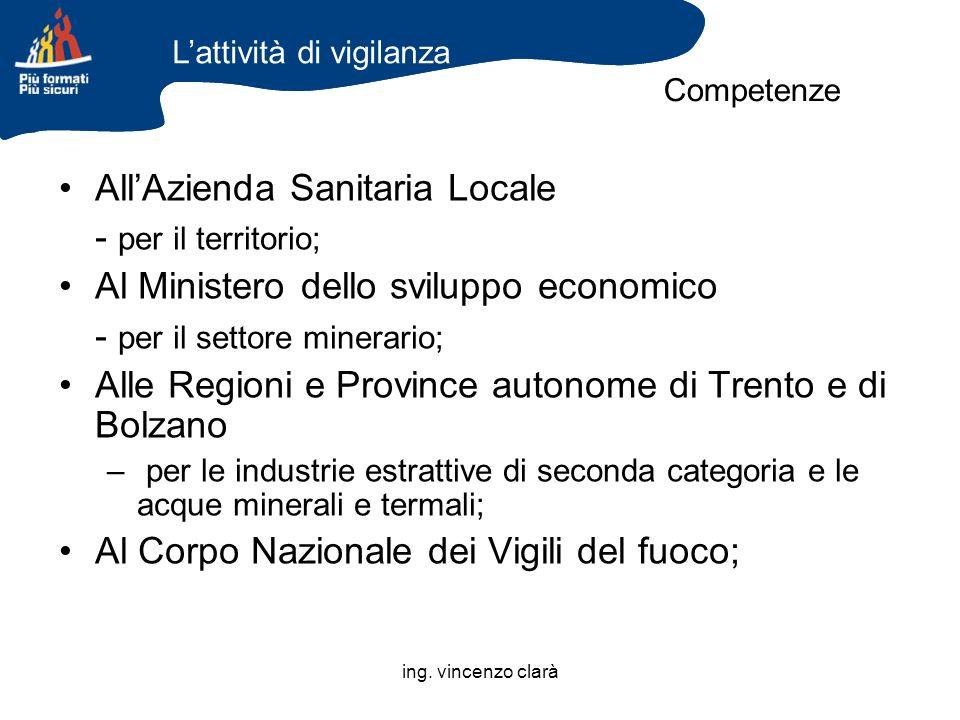 ing. vincenzo clarà AllAzienda Sanitaria Locale - per il territorio; Al Ministero dello sviluppo economico - per il settore minerario; Alle Regioni e