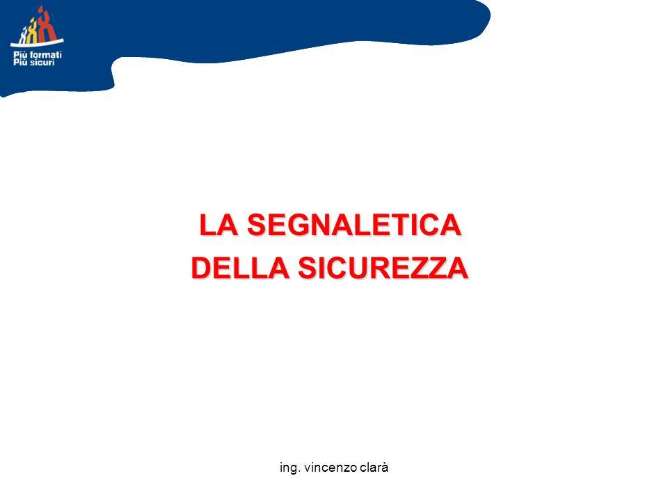ing. vincenzo clarà LA SEGNALETICA DELLA SICUREZZA