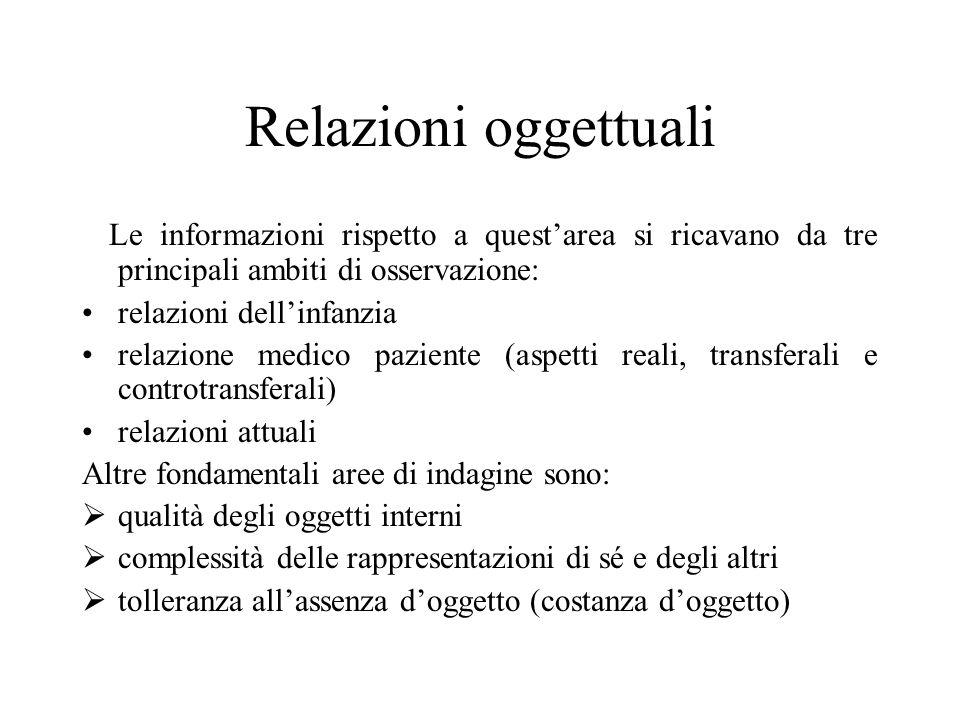 Relazioni oggettuali Le informazioni rispetto a questarea si ricavano da tre principali ambiti di osservazione: relazioni dellinfanzia relazione medic