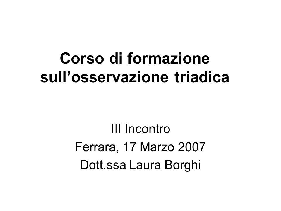 Corso di formazione sullosservazione triadica III Incontro Ferrara, 17 Marzo 2007 Dott.ssa Laura Borghi