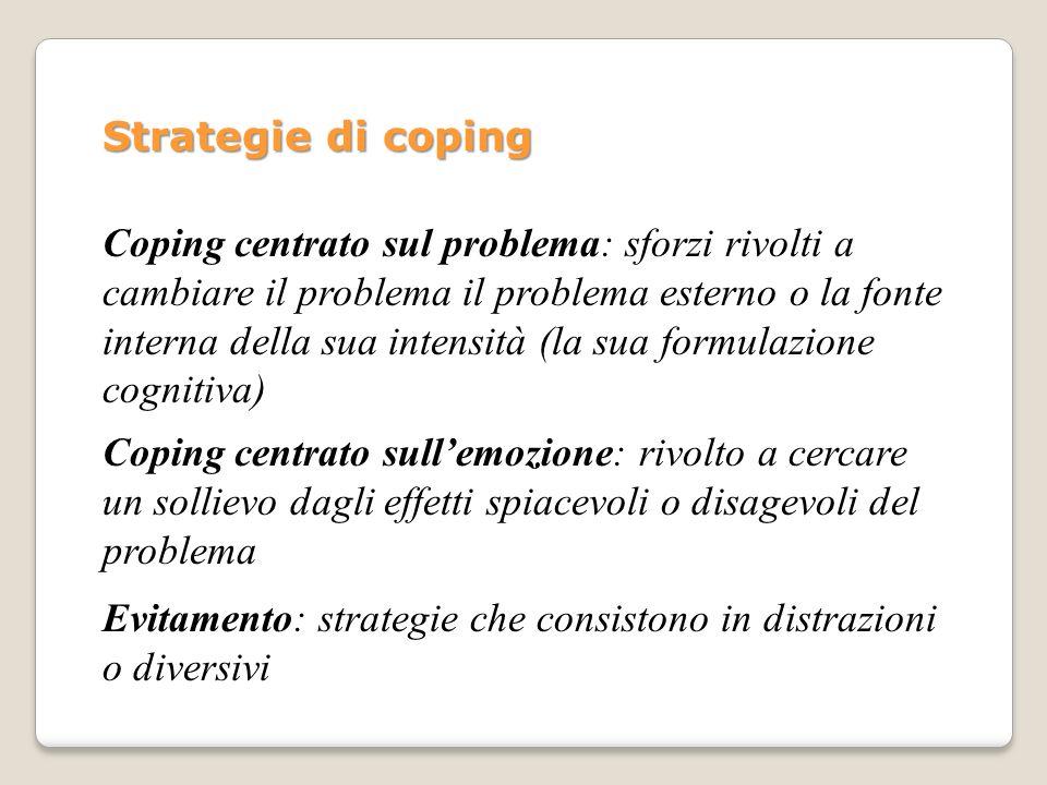 Strategie di coping Coping centrato sul problema: sforzi rivolti a cambiare il problema il problema esterno o la fonte interna della sua intensità (la