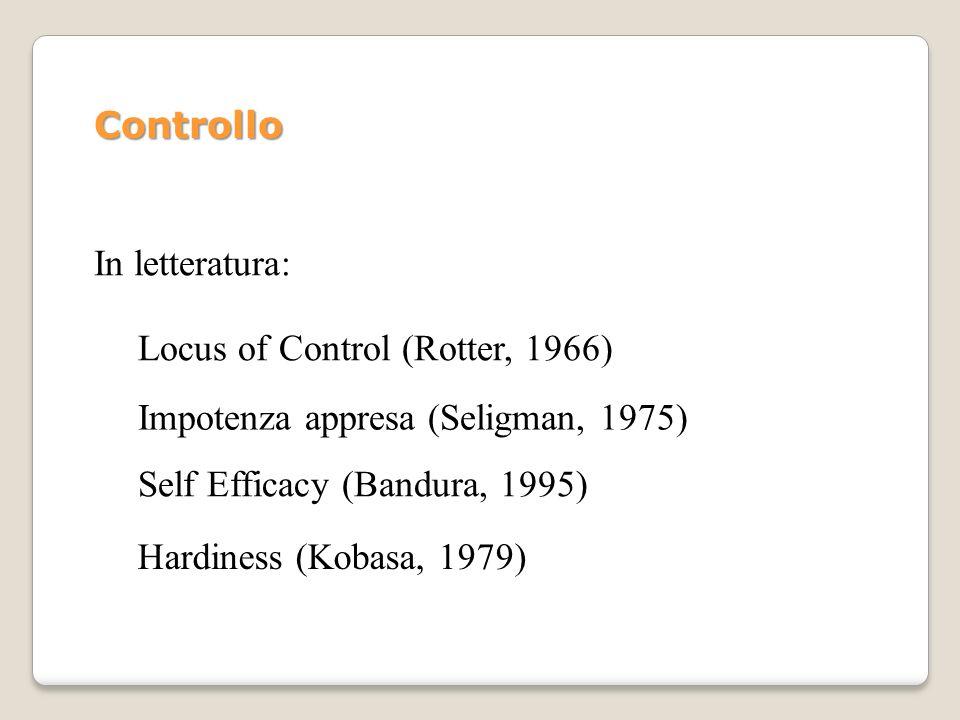 In letteratura: Locus of Control (Rotter, 1966) Impotenza appresa (Seligman, 1975) Self Efficacy (Bandura, 1995) Hardiness (Kobasa, 1979) Controllo