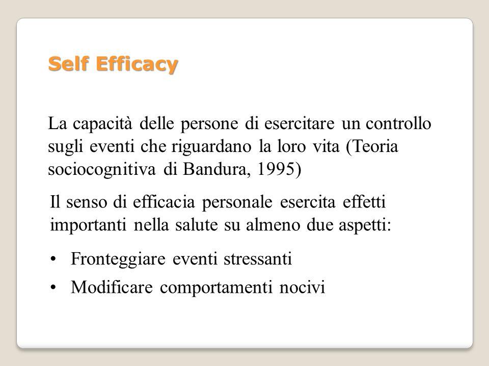 Self Efficacy La capacità delle persone di esercitare un controllo sugli eventi che riguardano la loro vita (Teoria sociocognitiva di Bandura, 1995) I