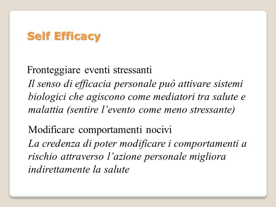 Self Efficacy Fronteggiare eventi stressanti Il senso di efficacia personale può attivare sistemi biologici che agiscono come mediatori tra salute e m