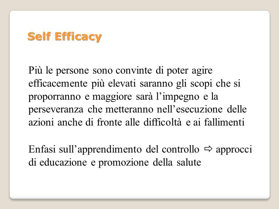 Self Efficacy Più le persone sono convinte di poter agire efficacemente più elevati saranno gli scopi che si proporranno e maggiore sarà limpegno e la