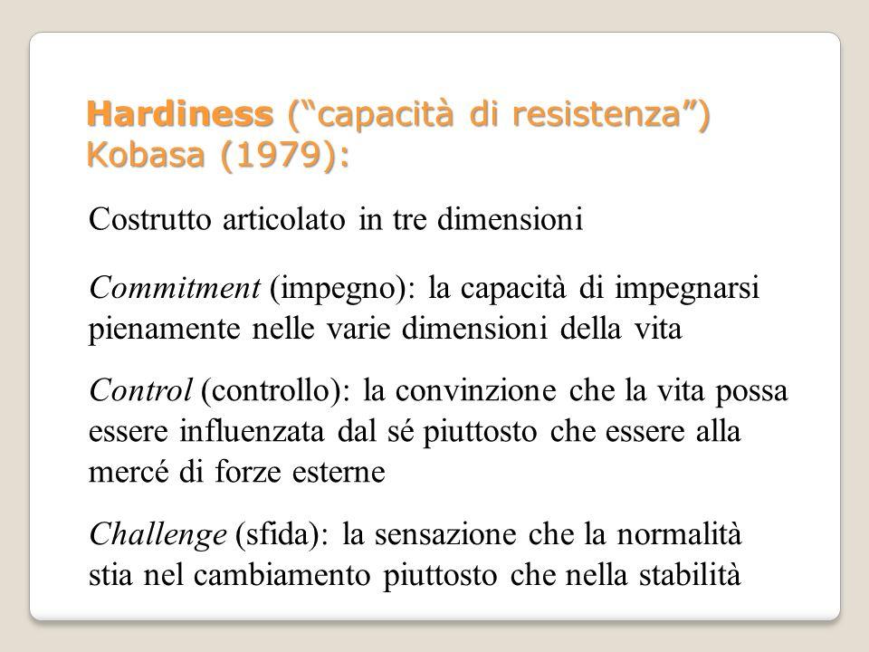 Hardiness (capacità di resistenza) Kobasa (1979): Costrutto articolato in tre dimensioni Commitment (impegno): la capacità di impegnarsi pienamente ne