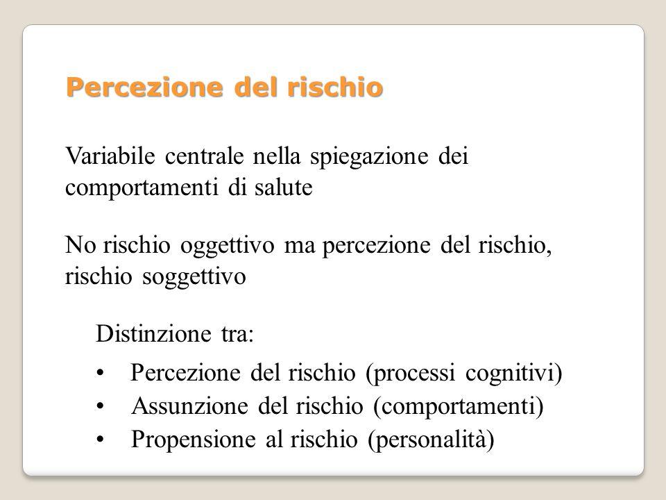 Percezione del rischio No rischio oggettivo ma percezione del rischio, rischio soggettivo Distinzione tra: Percezione del rischio (processi cognitivi)