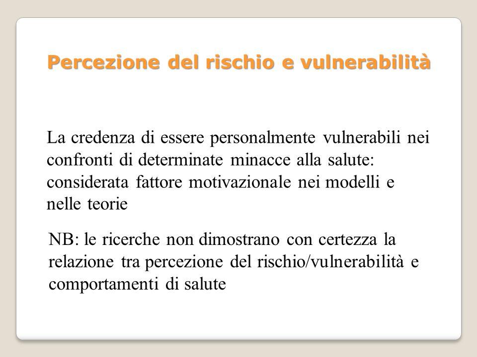 Percezione del rischio e vulnerabilità La credenza di essere personalmente vulnerabili nei confronti di determinate minacce alla salute: considerata f