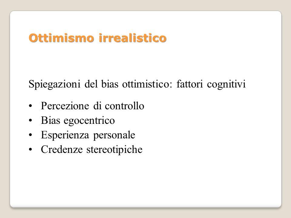 Ottimismo irrealistico Spiegazioni del bias ottimistico: fattori cognitivi Percezione di controllo Bias egocentrico Esperienza personale Credenze ster