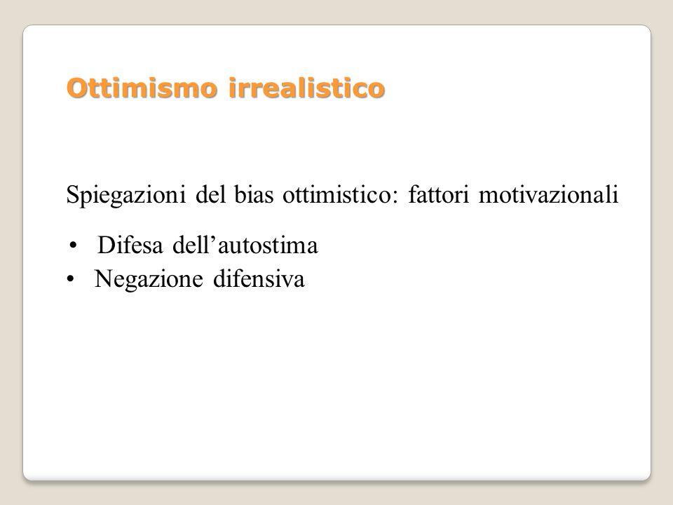 Ottimismo irrealistico Spiegazioni del bias ottimistico: fattori motivazionali Difesa dellautostima Negazione difensiva