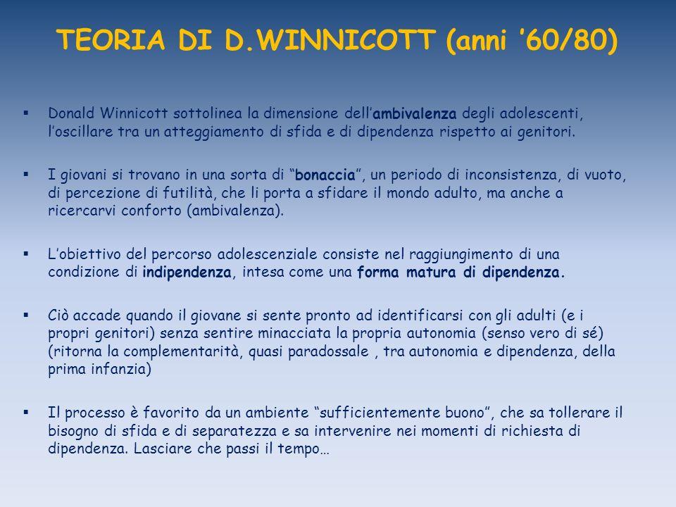 TEORIA DI D.WINNICOTT (anni 60/80) Donald Winnicott sottolinea la dimensione dellambivalenza degli adolescenti, loscillare tra un atteggiamento di sfida e di dipendenza rispetto ai genitori.