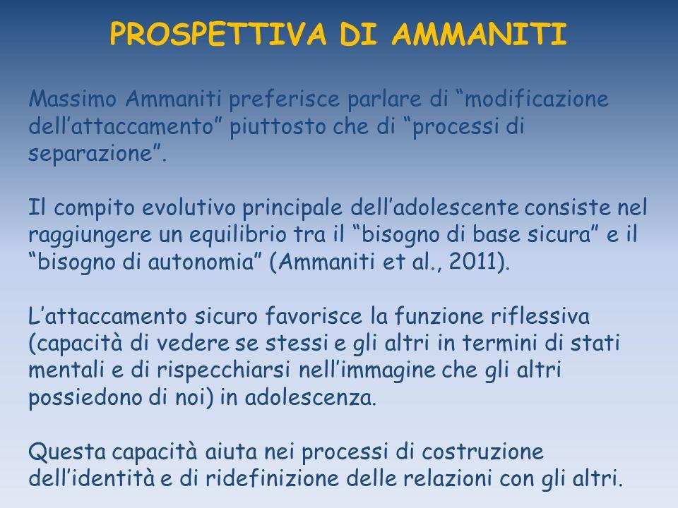 PROSPETTIVA DI AMMANITI Massimo Ammaniti preferisce parlare di modificazione dellattaccamento piuttosto che di processi di separazione.