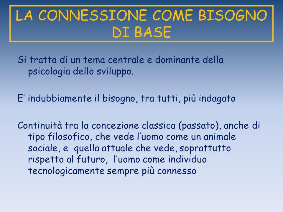 LA CONNESSIONE COME BISOGNO DI BASE Si tratta di un tema centrale e dominante della psicologia dello sviluppo.