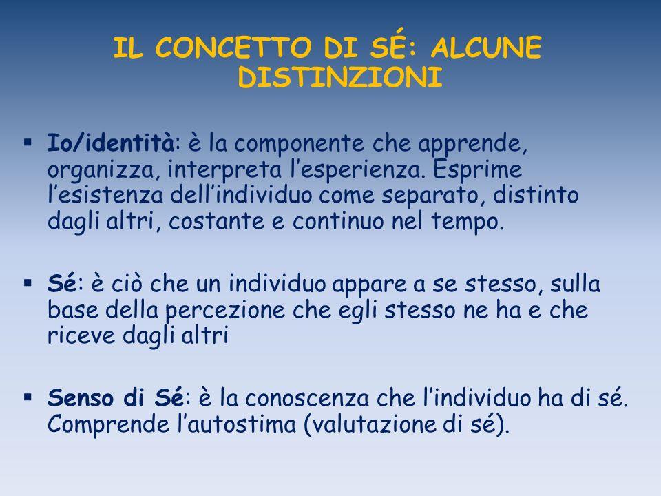 IL CONCETTO DI SÉ: ALCUNE DISTINZIONI Io/identità: è la componente che apprende, organizza, interpreta lesperienza.