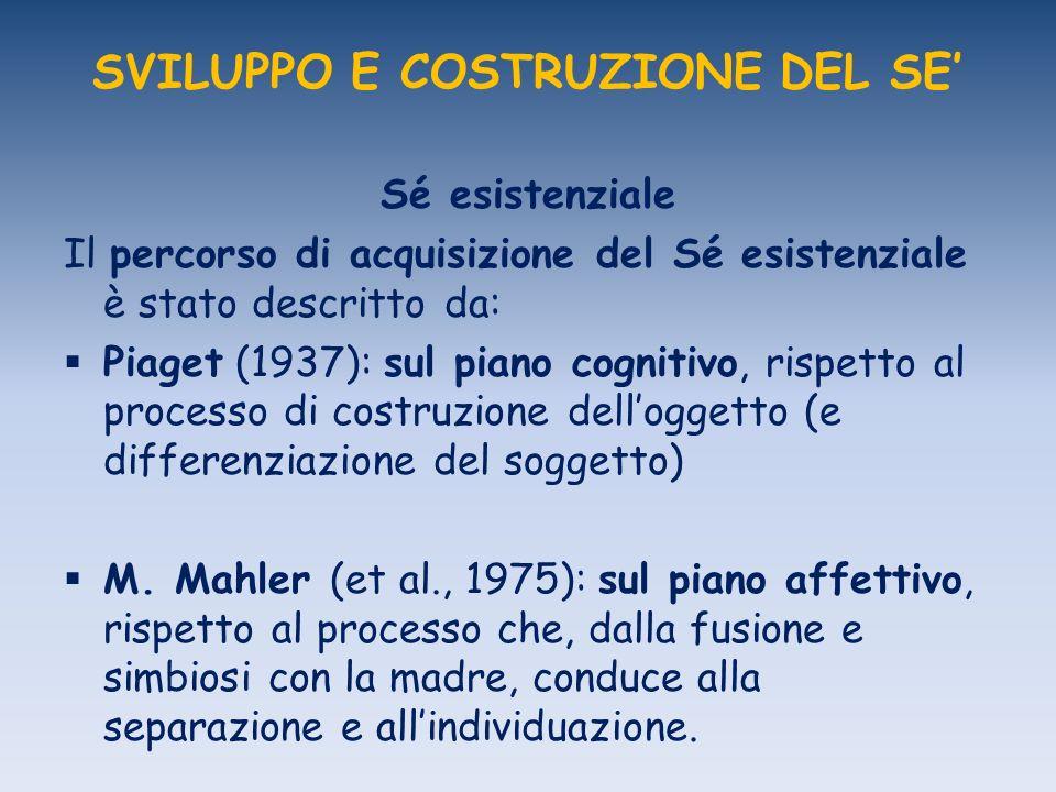 SVILUPPO E COSTRUZIONE DEL SE Sé esistenziale Il percorso di acquisizione del Sé esistenziale è stato descritto da: Piaget (1937): sul piano cognitivo, rispetto al processo di costruzione delloggetto (e differenziazione del soggetto) M.